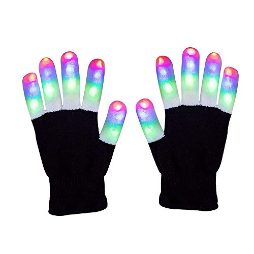 Ivishow Children LED Finger Light Gloves, Colorful Light up Gloves Flashing Rave Gloves Novelty Toys for Party Light Show Christmas Xmax Birthday Clubbing Halloween, 6 Light Mode(Warm Whole Fingers)