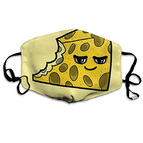 Cheese Fixes Everything Food Humor Cartoon Yellow Anti-Dust Earloop Mouth Masks for Women Men, Anti Flu Pollen Climbing Climbing Half Face Mouth Mask - Adjustable Band Face and Nose Cover