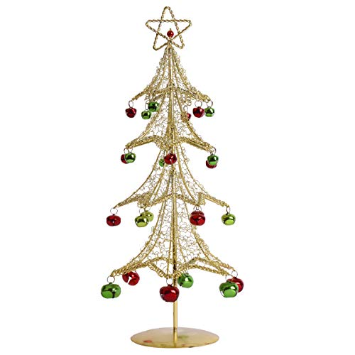 AUTOARK Metal Wire Christmas Tree with Colourful Bells Ornaments,15.4'',Gold,ACT-005Y - Ornament Gold Bell