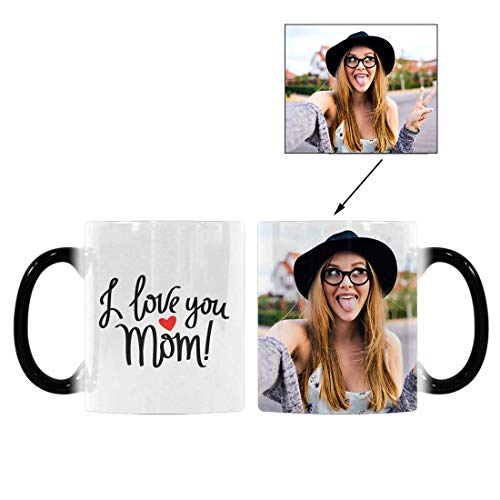 (Custom Picture Heat Sensitive Color Changing Coffee Mug, I Love You Mom Red Heart 11oz Morphing Tea Cup for Mom Mother Birthday)