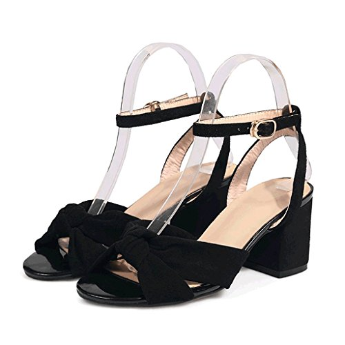 Heel Size 34 High Red Summer Sandals Rough Black Sexy Heels Ladies Wedding Black Color Shoes 7wOXxA7q5