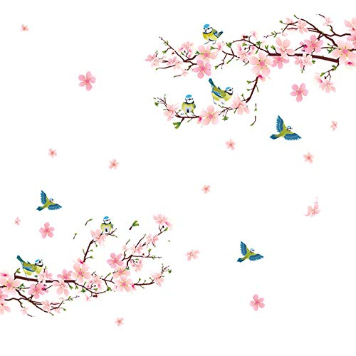 Alicemall Floral Wall Sticker Beautiful Pink Cherry Blossom Peach Flower Wall Sticker Birds and Flowers Pastoral Style Wall Decals for Living Room and Bedroom TV Background Stickers (Pink)