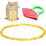 Sweetie House Raw Baltic Amber Teething Necklace for Babies - (Honey) Anti-Flammatory, Drooling & Teething Pain Reduce Properties & Natural Certificated Oval Baltic Jewelry for Christmas¡­