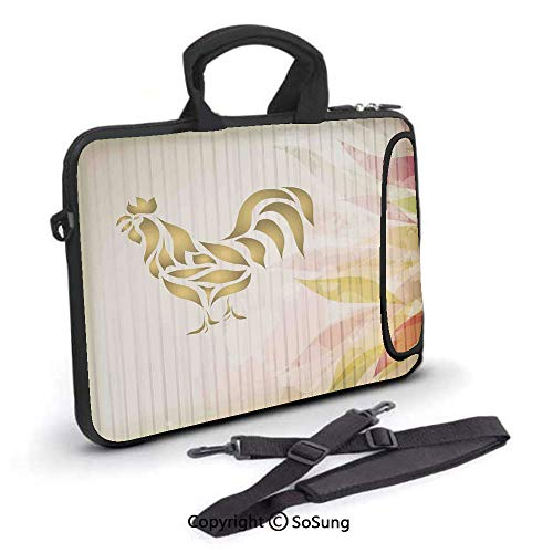 - 14 inch Laptop Case,Abstract Modern Style Home Kitchen Cafe Design Rooster Animal Print Signage Neoprene Laptop Shoulder Bag Sleeve Case with Handle and Carrying & External Side Pocket,for Netbook/Mac
