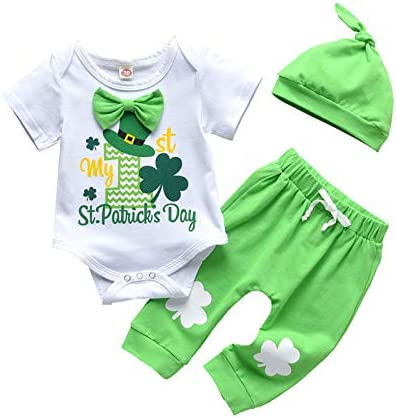 sdghg Baby Boy Clothes Valentine's Day Outfits Long Sleeve Letter Print Romper Pants Set with Hat