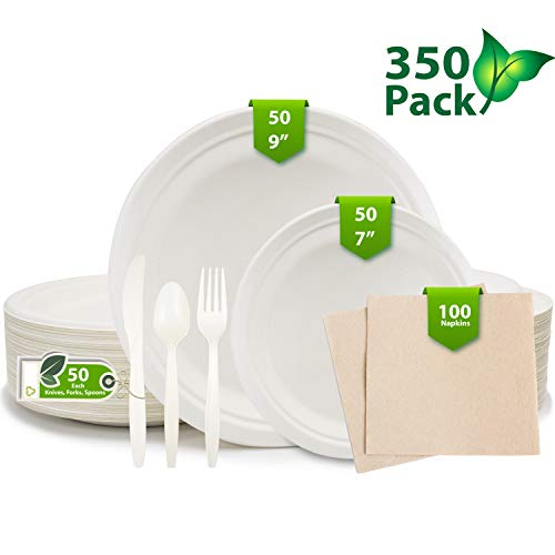 350 Piece Disposable Dinnerware Set, Biodegradable 9in, 7in Compostable Eco Friendly Plates, Plus 100 Napkins Eco…