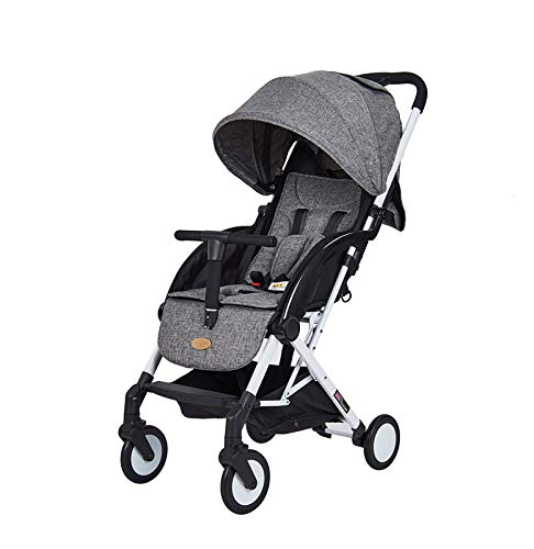 AB Lightweight Foldable Stroller-Convenience Travel Stroller with Extendable Canopy, Storage Basket, Removable Handle and Observation Window-One Key to Collect and Carry(Grey)