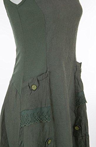 Leinenkleid ärmellos mit Spitze (viele Farben, Größen 36 38 40 42 44 46) Olivgrün