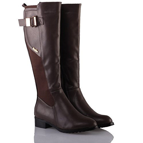 Unze Für Frauen Tesle Buckled Knee High Winter-Flache Schuhe - 1811-A30 Khaki