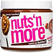 Nuts 'N More Cocoa Hazelnut Butter Spread, All Natural Keto Snack, Low Carb, Low Sugar, Gluten Free, Non-GMO,