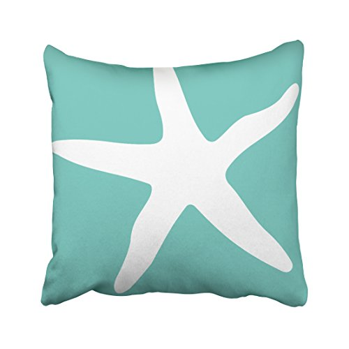 Pakaku Decorativepillows Case Throw Pillows Covers for Couch/Bed 16 x 16 inch,Aqua Blue and White Starfish Starfish Nautical Home Sofa Cushion Cover Pillowcase Gift Bed Car Living Home