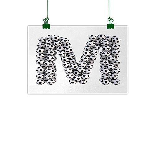 "Unpremoon Letter M Wall Decor Diagonal and Vertical Stack of Soccer Balls Alphabet Letter M Symbol Design Wall Art Kitchen Black and White W 47"" x L 32"""