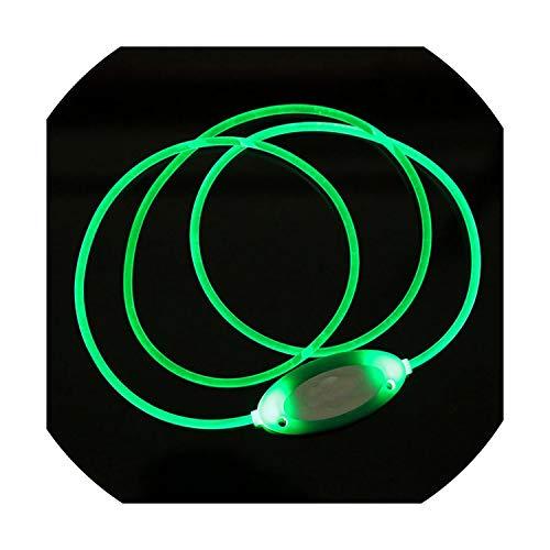 (Adjustable Luminous Solid Light Up Night Safety Pet Collar Tag Bright Flashing Pet Dog Collar All Seasons,Green,Adjustable)