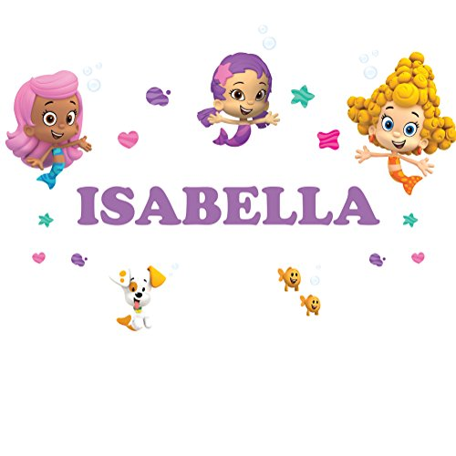 Oliver's Labels Personalized Bubble Guppies Girls Kids Name Wall Decal Sticker Life Size (Bubble Guppy Wall Decals)