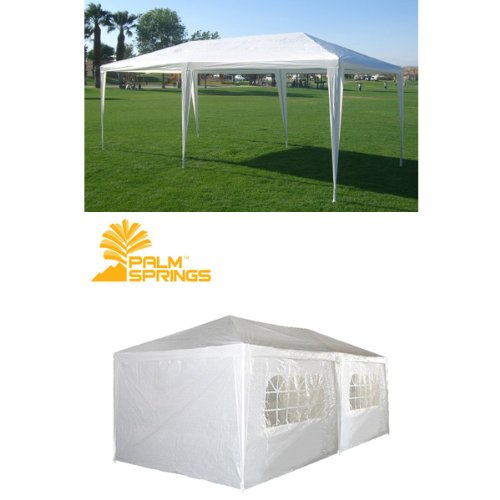 Palm Springs 10 X 20 White Party Tent Gazebo Canopy with Sidewalls, Outdoor Stuffs