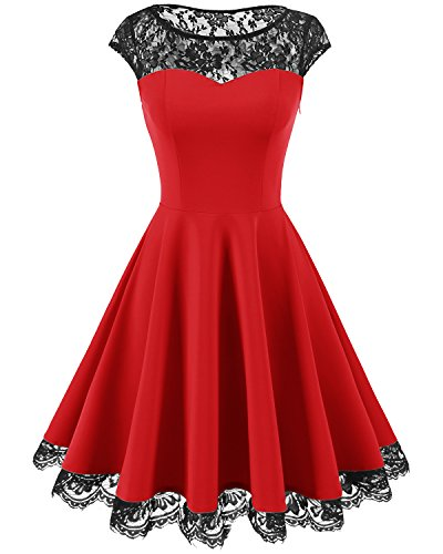 age 1950s Floral Lace Scoop Neck Cap Sleeve Cocktail Party Dress Red S ()