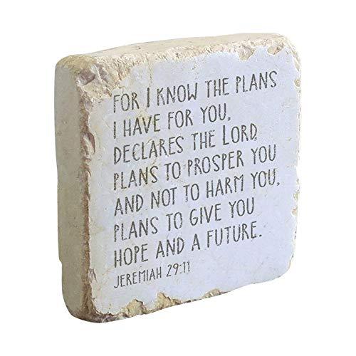ART & ARTIFACT Jeremiah 29:11 Scripture Stone - Indoor Outdoor Garden Decor - Tumbled Marble - 4