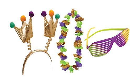 Mardi Gras Accessory Kit- Headband, Glasses, and -