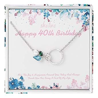 Amazon.com: Regalo de 40 cumpleaños para mujer – Plata de ...