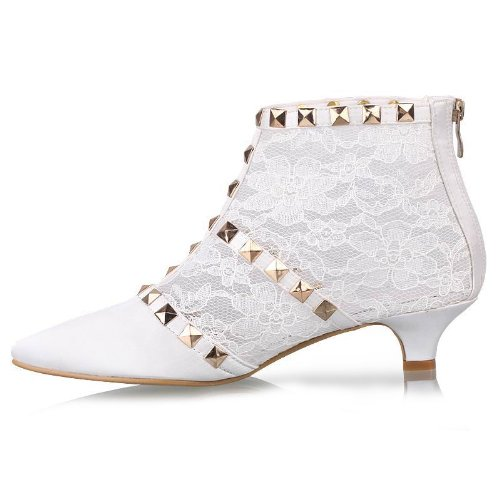 Minitoo GYTH13137 Womens Kitten Heel Pointed Toe Lace Floral Evening Party Bridal Wedding Sequin Zip Shoes Ankle Boots