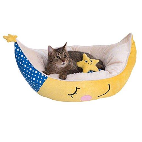 WANGADO Lettino comodo a forma di luna, con fantasia stellata bianca e blu, per gatti e cani di piccola taglia, con cuscino double-face e cuscinetto a forma di stellla