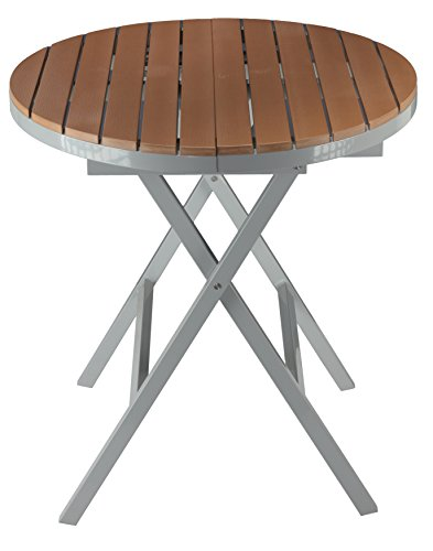 Cortesi Home Avery Aluminum Outdoor Round Folding Table in Poly Wood, Teak Aluminum Lounge Table