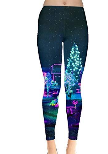 CowCow Womens Snow Elegant Xmas Tree Realistic Print Stretch Leggings - L (Elegant Christmas Tree)