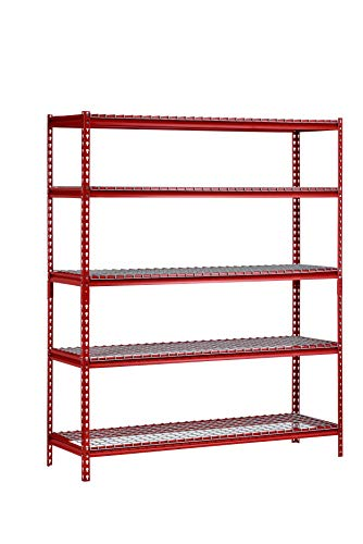 Muscle Rack UR601872WF-RED 5-Shelf Z-Beam Boltless Steel Shelving Unit in Red, 72