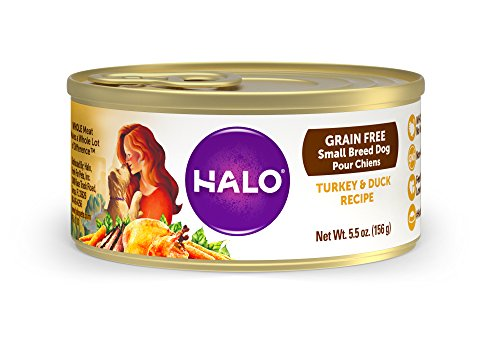 Halo Holistic Wet Dog Food for Small Breed Dogs, Grain Free Turkey and Duck, 5.5 OZ of Canned Small Breed Dog Food, 12 Cans