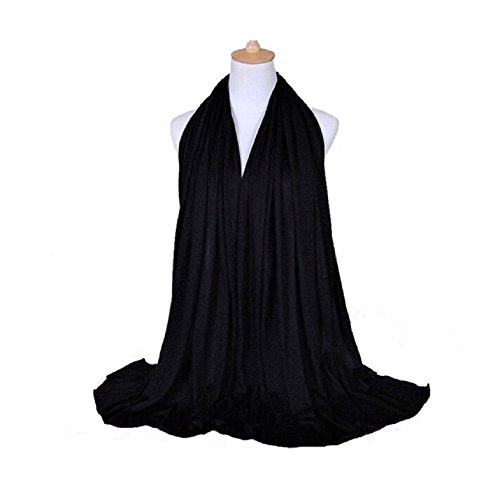 Black Elegance Collection (Elegance Collections Muslim Women's Jersey Hijab Khimar Soft Rectangle One Size Black)