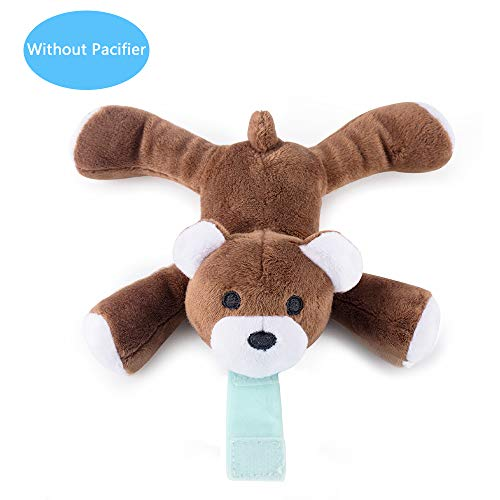 Bear Pacifier Holder - Baby Detachable Stuffed Animal for Pacifier Holder, Soft Plush Toy for Binky Animal Replcement (Bear Animal Without Pacifier)