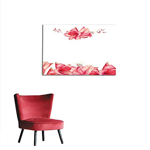 - homehot Photo Wall Paper Greeting Floral Card with red Amaryllis Watercolor Lily Flowers Mural 36