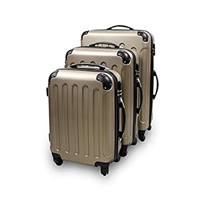 Set de 3 maletas Trolley, Maletas sólidas con ruedas – Champagne