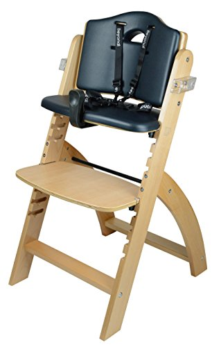 41jsD4R3qBL - Abiie Beyond Wooden High Chair With Tray. The Perfect Adjustable Baby Highchair Solution For Your Babies And Toddlers Or As A Dining Chair. (6 Months Up To 250 Lb) (Natural Wood - Black Cushion)