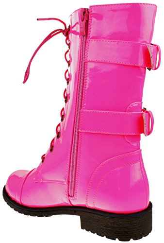 Top Moda Frauen-Pack-72 Lace Up Combat Boot Patent Pink