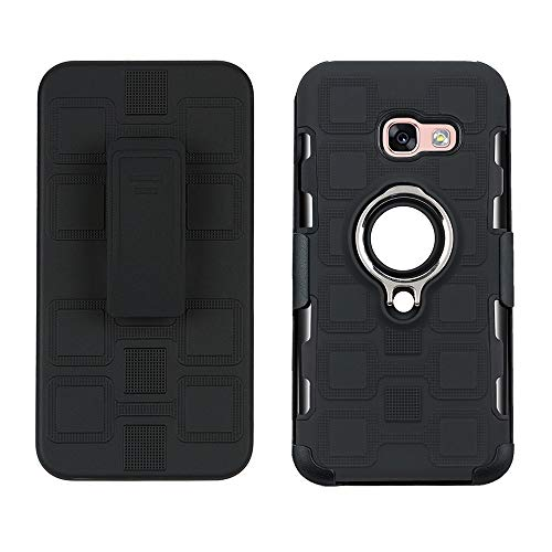 Maoerdo Galaxy J7 Neo J701M/J7 Nxt J701F/J7 Core J701 Case,[Back Clip] 2 in 1 360 Degree Ring Stand Dual Layer TPU Magnetic Car Mount Holder Case for Samsung J7 J700 /Core Duos J701FZ - Black (Hello Kitty Galaxy Core 2)