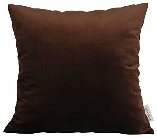 Brown Velvet Pillow - TangDepot Solid Velvet Throw Pillow Cover/Euro Sham/Cushion Sham, Super Luxury Soft Pillow Cases, Many Color & Size options - (26
