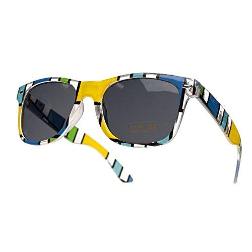 a sol Gafas y retro de rayas amarillo mujer para originales hombre q55Bt
