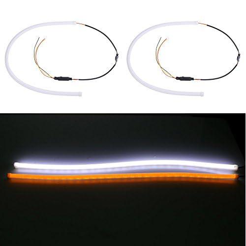 new Rupse 2Pcs 60cm LED Tube Phare DRL Feux de Jour Voiture Souple et Pliable (Blanc et Ambre)