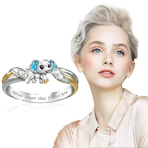 TONGHANG Metal Full Diamond Rings for Women, Affordable Rhinestone Microinlaid Zircon Female Ring Jewelry Valentine\'s Day Mother\'s Day Birthday Gift(Elephant Blue,5)