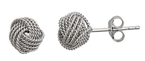Decadence Unisex Adult Sse457 Sterling Silver 7MM Cable Twist Love Knot Stud Earrings, One Size -