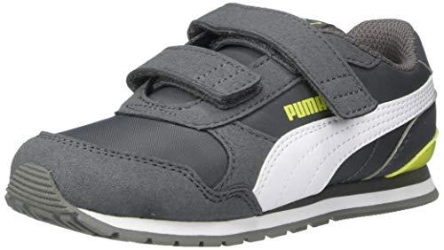 PUMA Unisex ST Runner Velcro Sneaker, Castlerock White-Nrgy Yellow, 11 M US Little Kid
