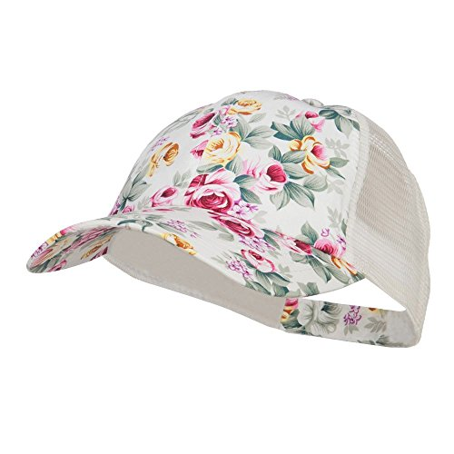 Floral Print Mesh Trucker Cap - White (Cap Trucker Hat)