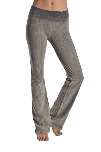 JKC Mineral Acid Wash Thick Yoga Pants Flare Heavyweigh Foldover Band CJ7477 Grey