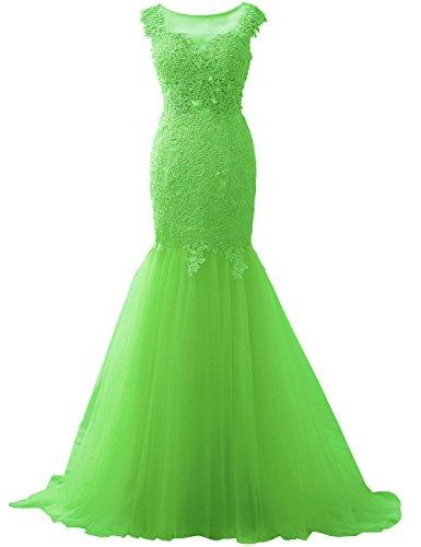Applique Lime Tulle Verde Abito sera JAEDEN da Pizzo Manica ballo Mermaid da aletta sera Vestiti Lungo Abiti ad da HtTatUxq