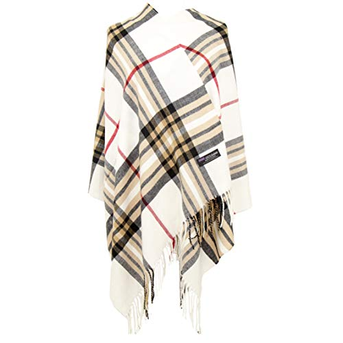 2PLY 100% Cashmere Blanket Oversized Scarf OS Tartan Nova Check Scotland Wool Plaid (Cream Off White Red Camel Black Nova Tartan Check Plaid)