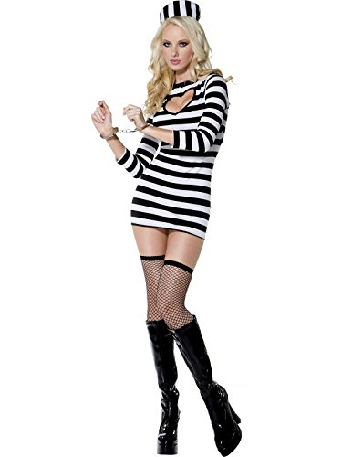 Smiffy's Women's Fever Convict Costume, Dress and Hat, Robbers, Fever, Size 10-12, 26946 (Sexy Robber)