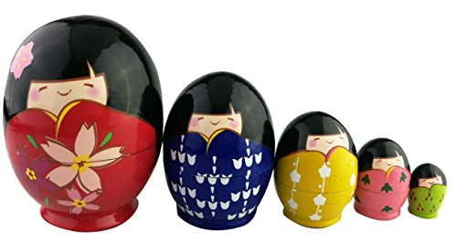 Perfect Mother's Day Gift Cute Japanese Little Girls Wear Kimono Pattern Egg Shape Handmade Wooden Russian Nesting Doll Matryoshka Kokeshi Set 5 Piece For Kids Toy Birthday Christmas Home Decoration