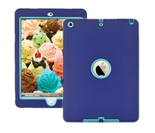 New iPad 9.7 lnch 2017 Case ,Heavy Duty Rugged Shock-Absorption / High Impact Resistant Hybrid Three Layer Armor Full Body Protective Case Cover for Apple New iPad 9.7 Inch 2017 Model Blue Blue by Trendmart