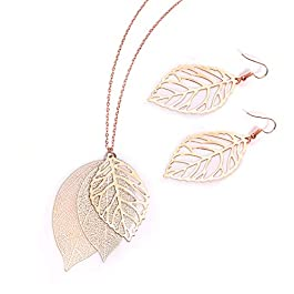 NVENF Leaf Earrings and Long Necklaces Set for Women Boho Gold-Tone Multi Tiered Leaves Delicate Chain Dangle Necklace…